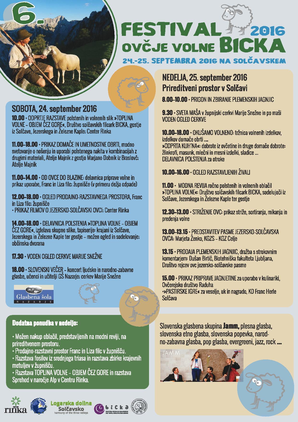 Program 6. Festivala ovčje volne Bicka